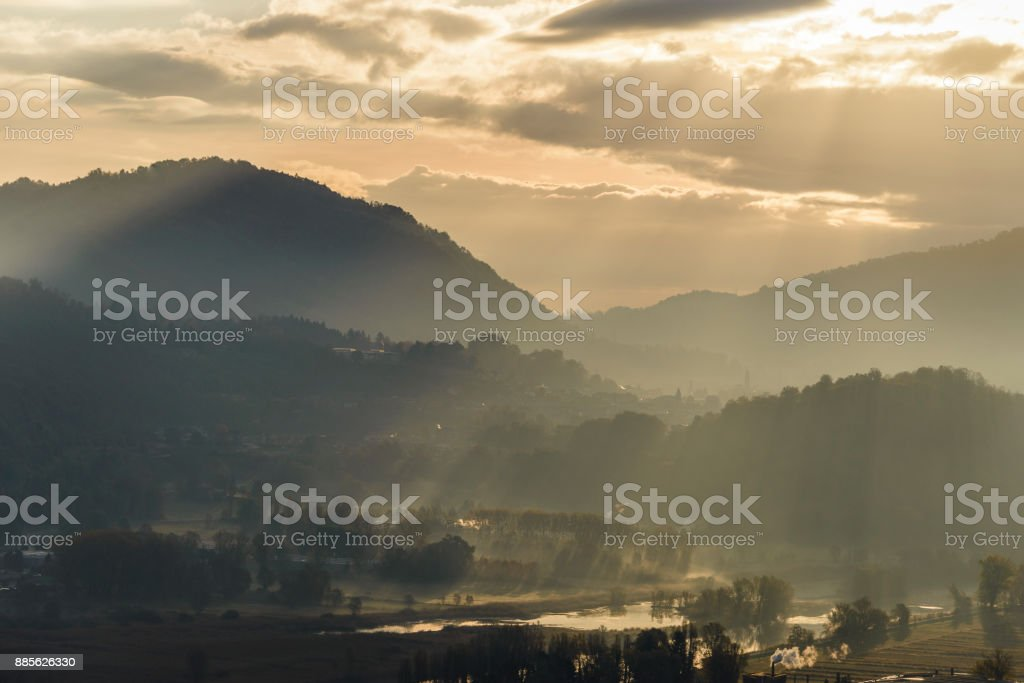 sunrise view on the Adda River stock photo