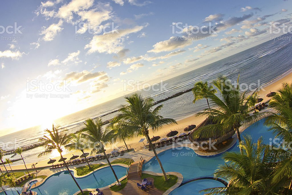 Sunrise waiting for you at Arraial d'Ajuda Eco Resort stock photo