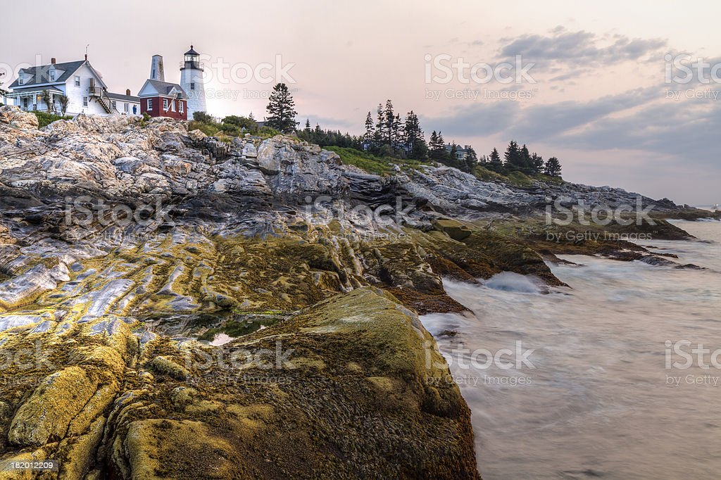 Sunrise Waves on Pemaquid Point stock photo