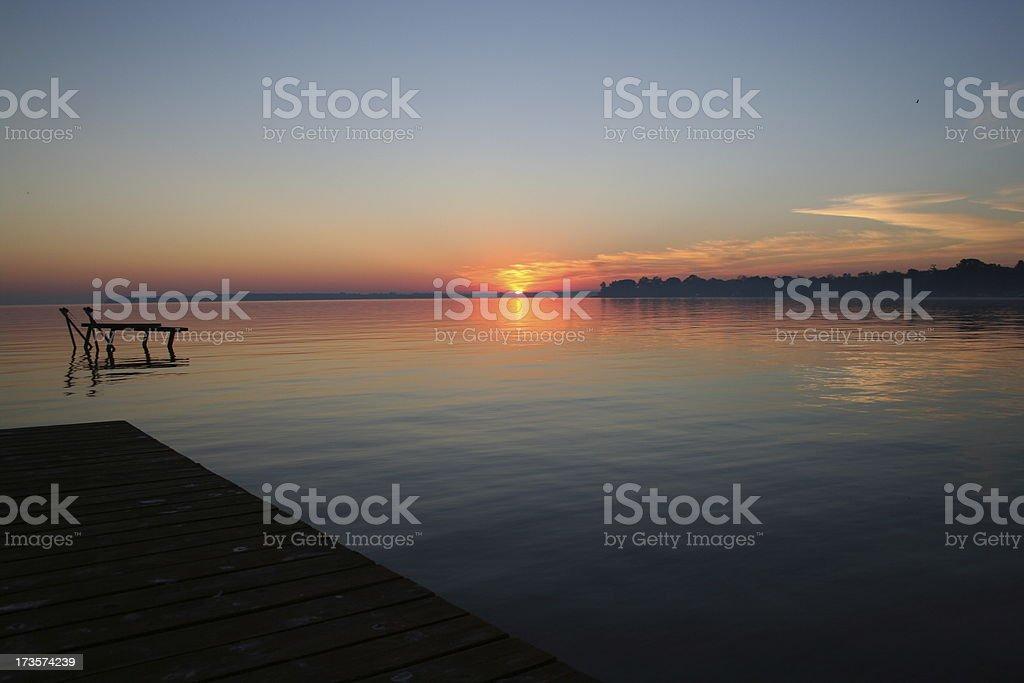 Sunrise with Dock stock photo