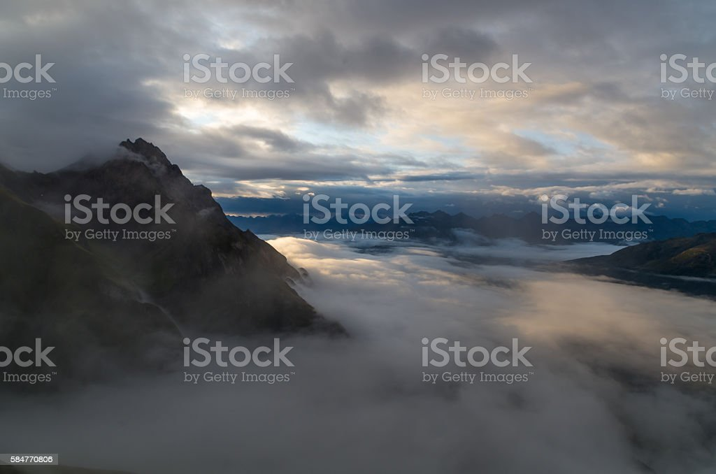 Sunrise with foggy sky in the Lechtal Alps, Tyol, Austria stock photo