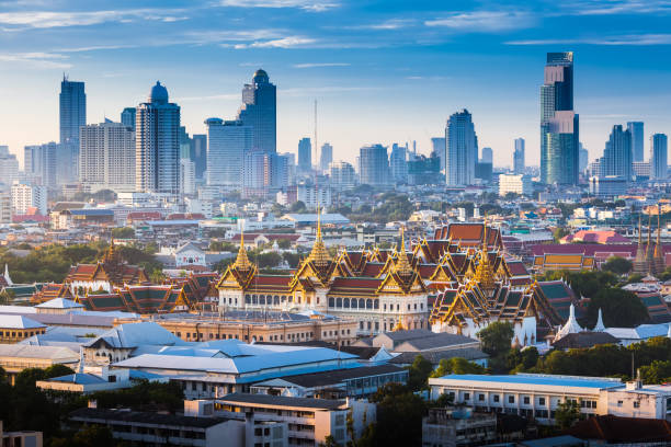 Sunrise with Grand Palace of Bangkok, Thailand stock photo
