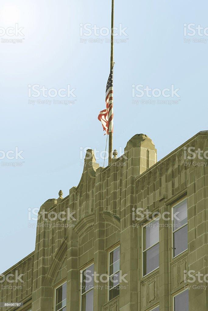 Sunrise with Half-Mast Flag royalty-free stock photo