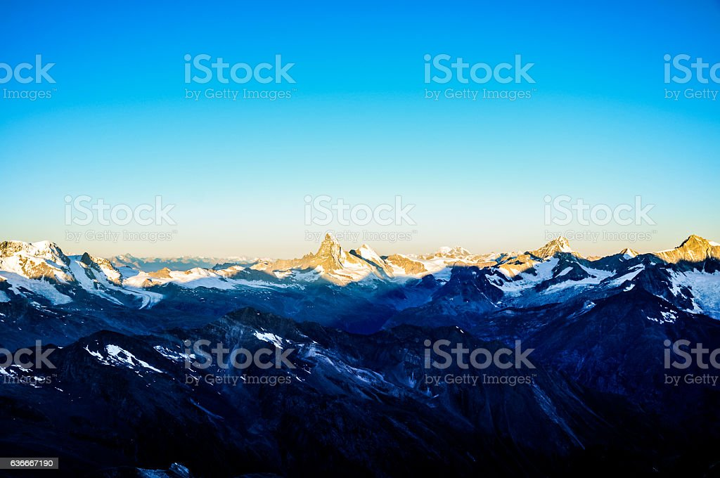 Sunrise with Matterhorn in the background - Wallis Alps stock photo