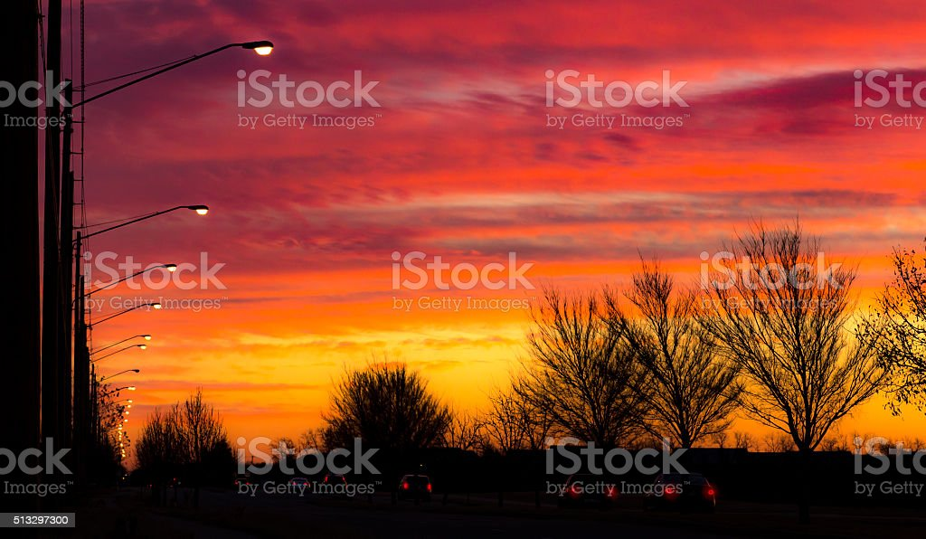 Sunrise With Morning Work Traffic stock photo