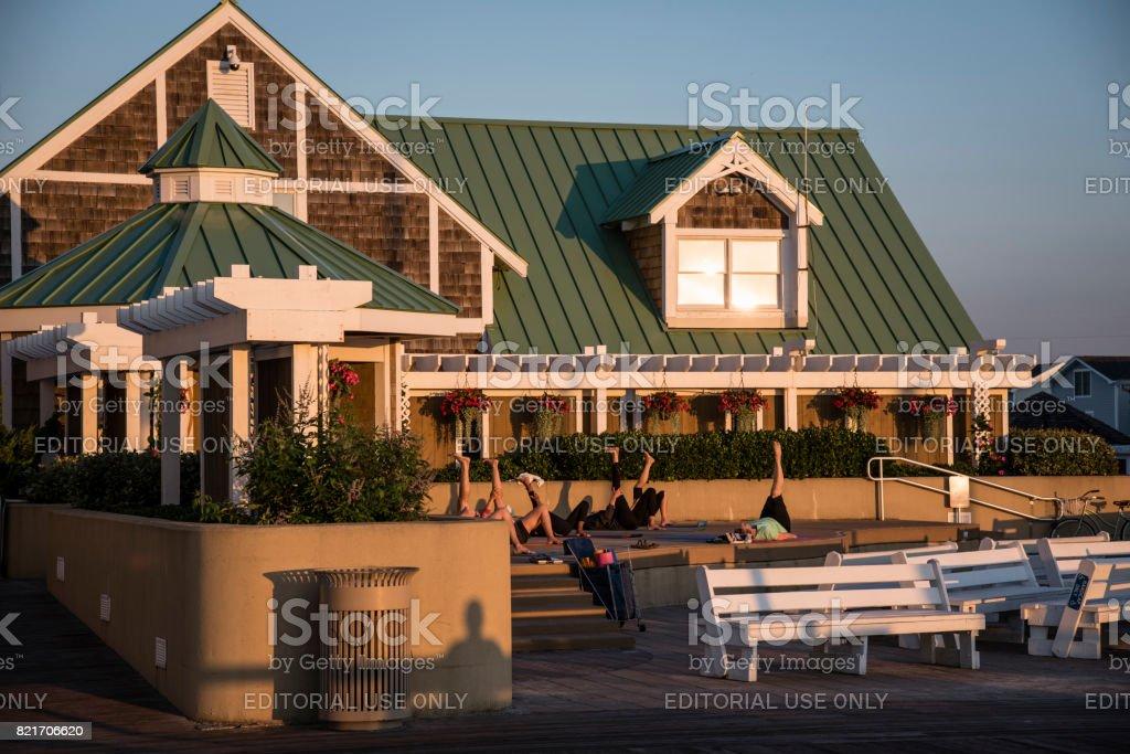 Sunrise Yoga Class in Bethany Beach stock photo