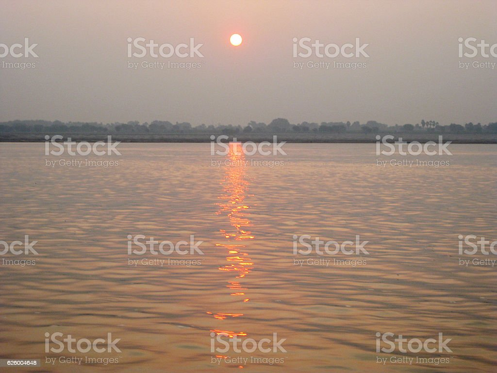 Sunrises over Ganges river in Varanasi stock photo