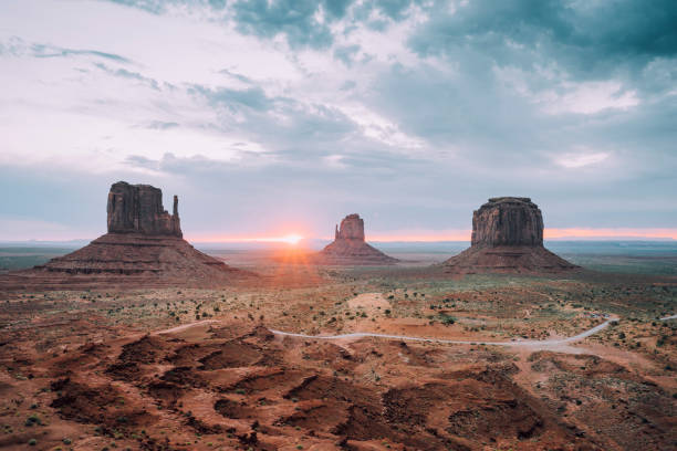 Sunrising in Monument Valley stock photo