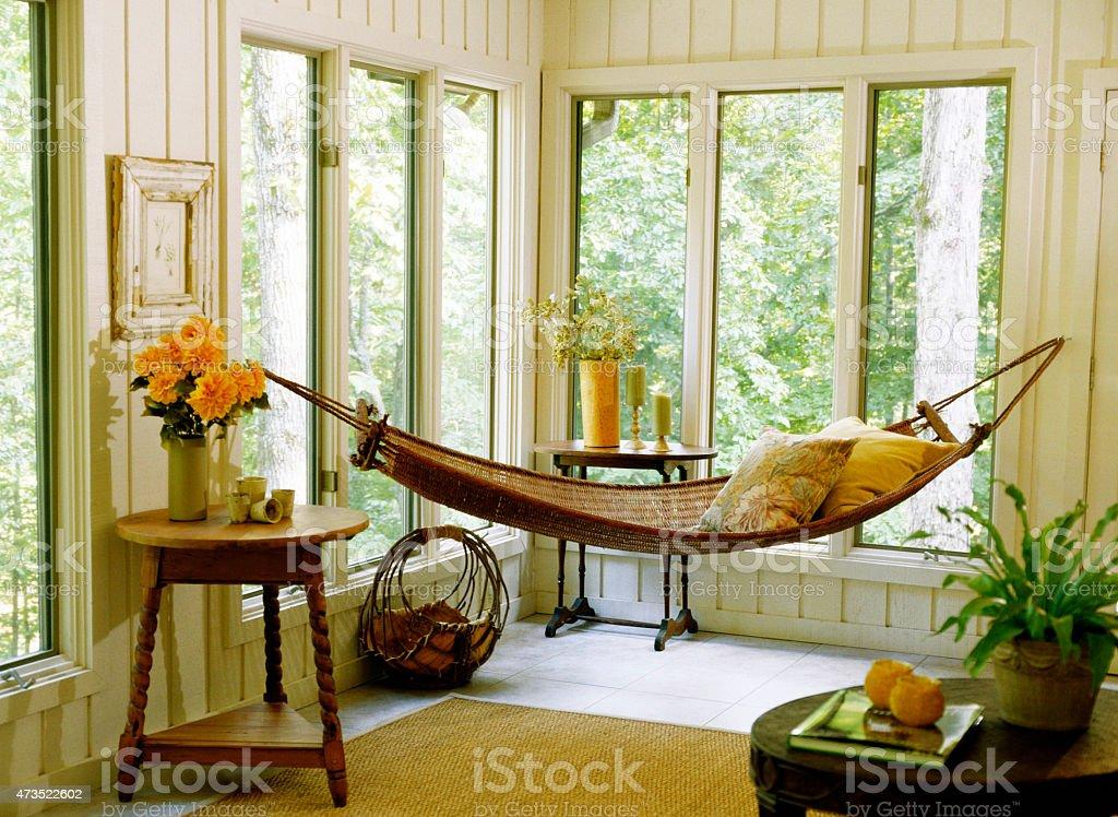 Sunroom and Hammock stock photo