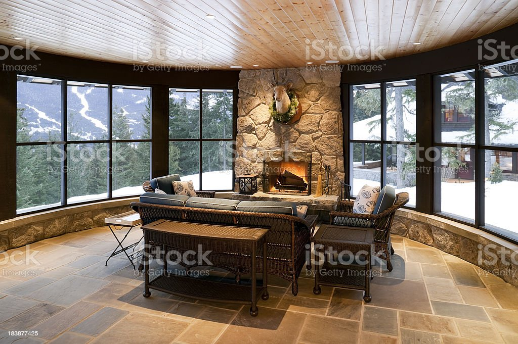 sunroom fireplace house home interior stock photo