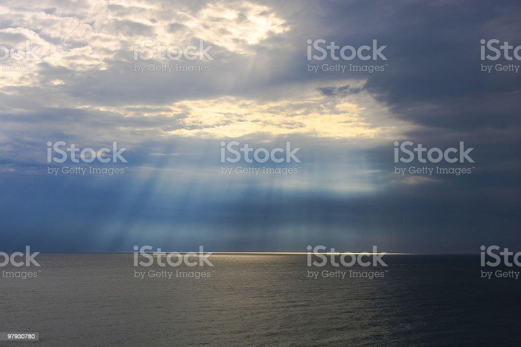 Sun's rays at sea. royalty-free stock photo