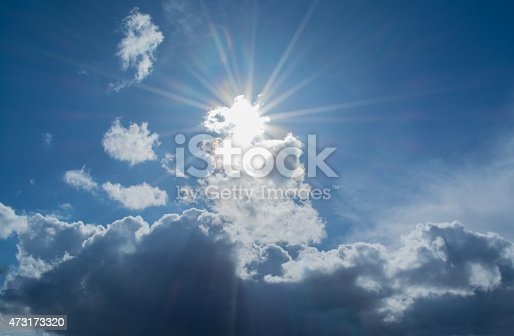 Sun's rays in the clouds with highlights