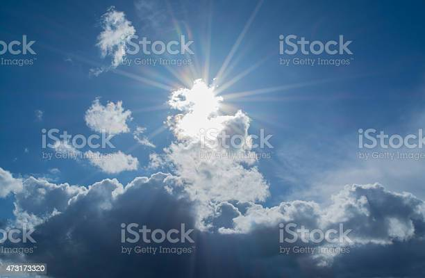 Photo of Sun's rays in the clouds with highlights