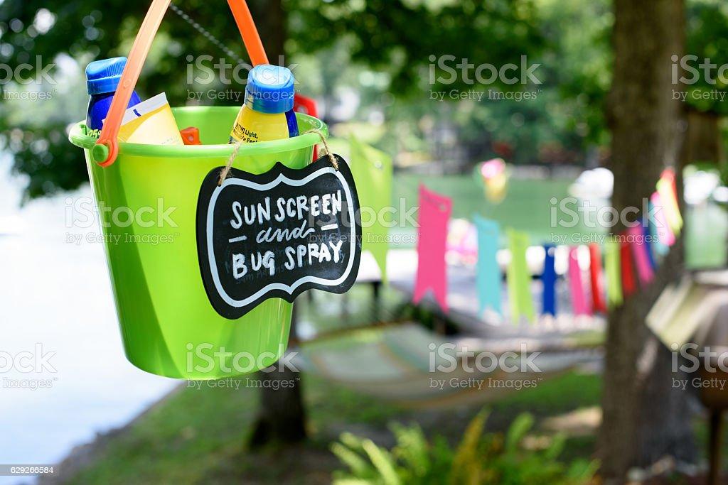 Sunscreen and Bug Spray Bucket stock photo