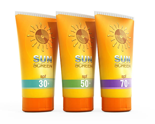 Sunscreen lotion tube flasks stock photo