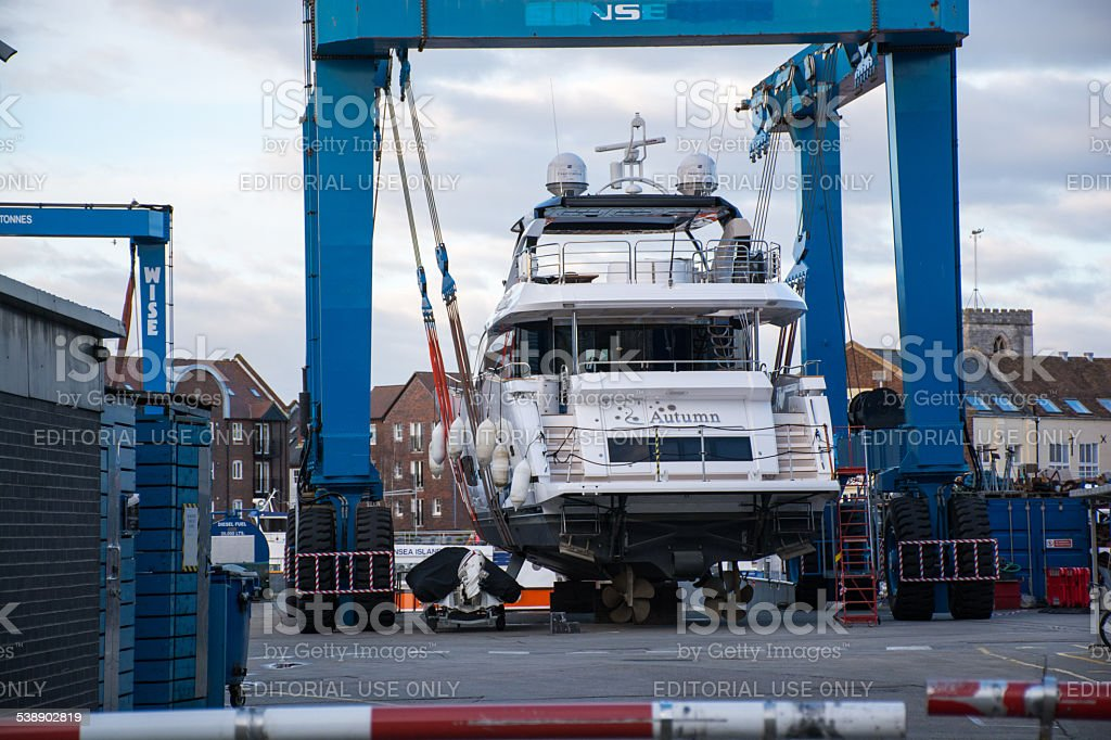 Sunseeker powerboat lifted out of the water stock photo