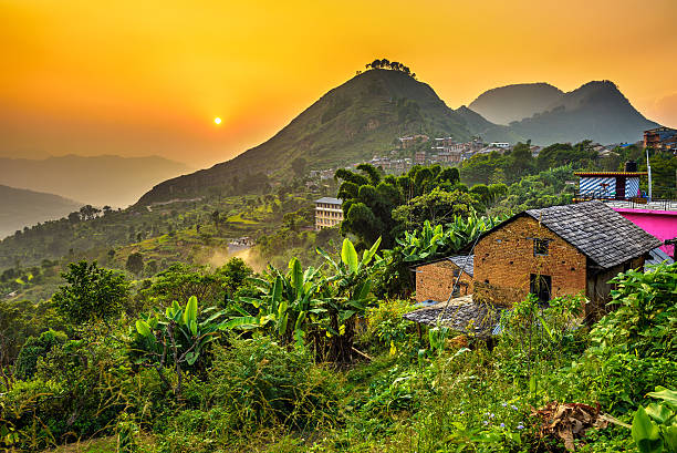 sunset above bandipur in nepal - village stock pictures, royalty-free photos & images