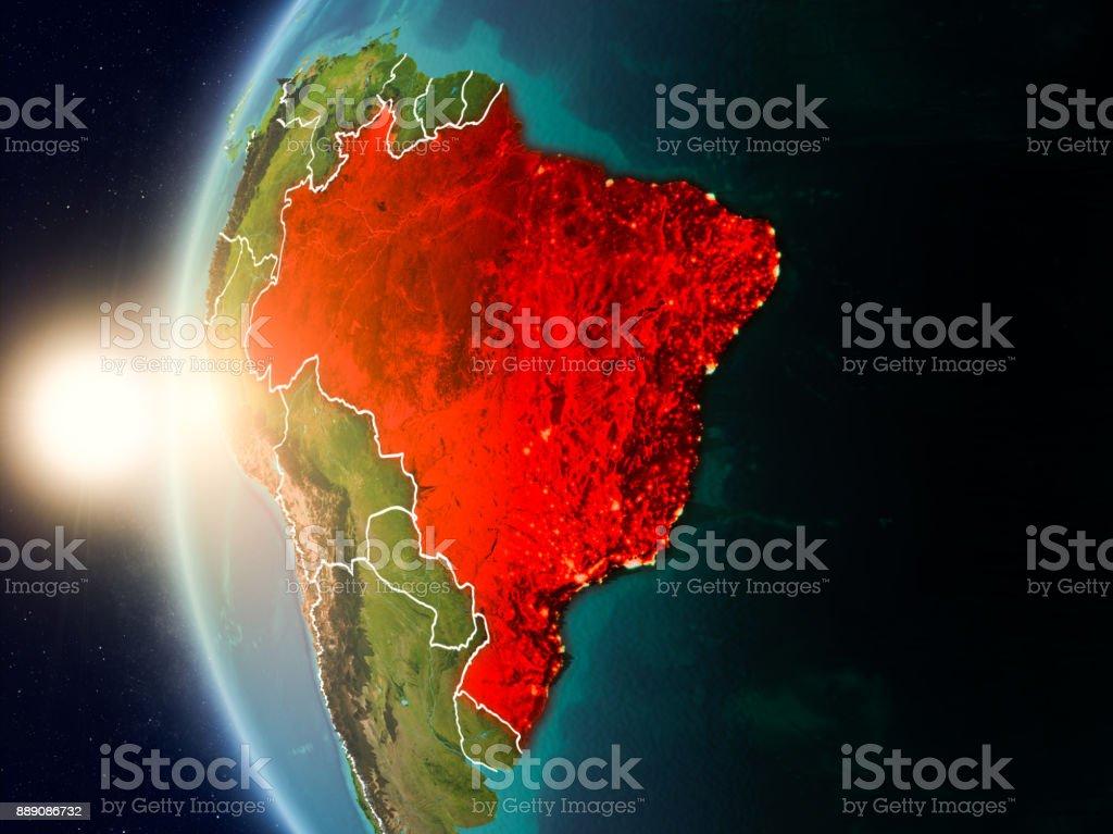 Puesta de sol sobre el Brasil desde el espacio - foto de stock