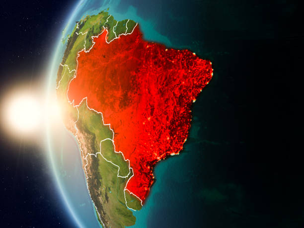 Pôr do sol acima Brasil do espaço - foto de acervo