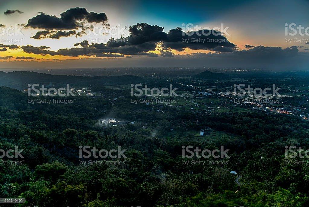 Sunset above city  of Jogjakarta , Jawa, Indonesia stock photo