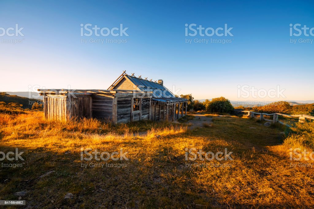 Sunset above Craigs Hut  in the Victorian Alps, Australia stock photo