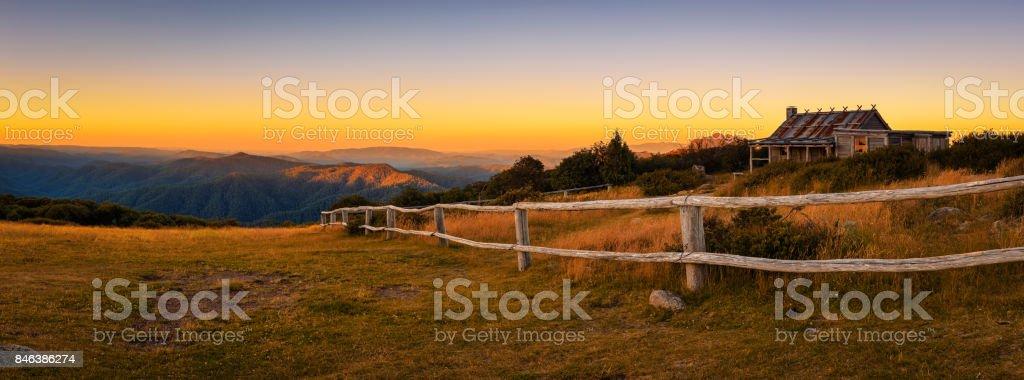 Sunset above Craigs Hut  in the Victorian Alps, Australia stock photo