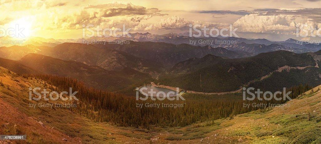Sunset Above Echo Lake stock photo
