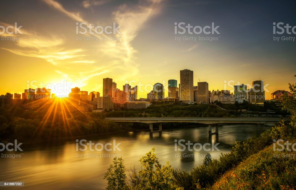 Sunset above Edmonton downtown and the Saskatchewan River, Canada stock photo