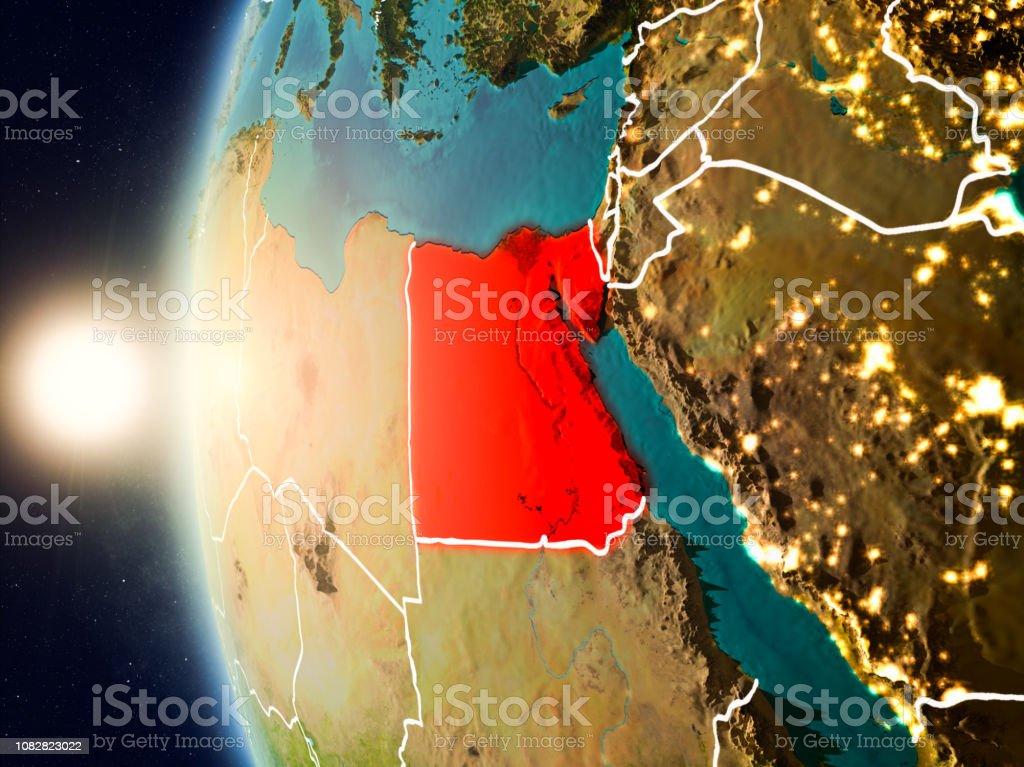 Puesta de sol sobre Egipto desde el espacio - foto de stock