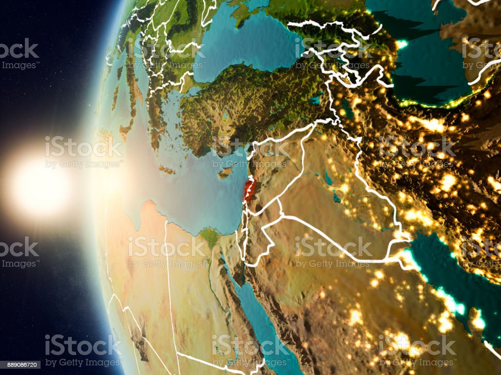 Sunset above Lebanon from space stock photo