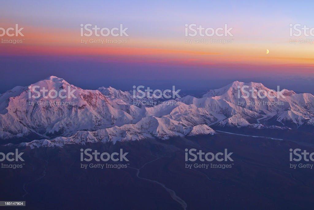 Sunset above Mount Mckinley stock photo