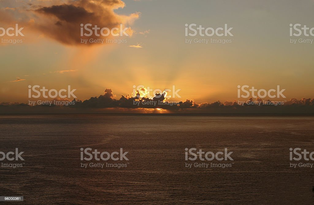 sunset above ocean royalty-free stock photo