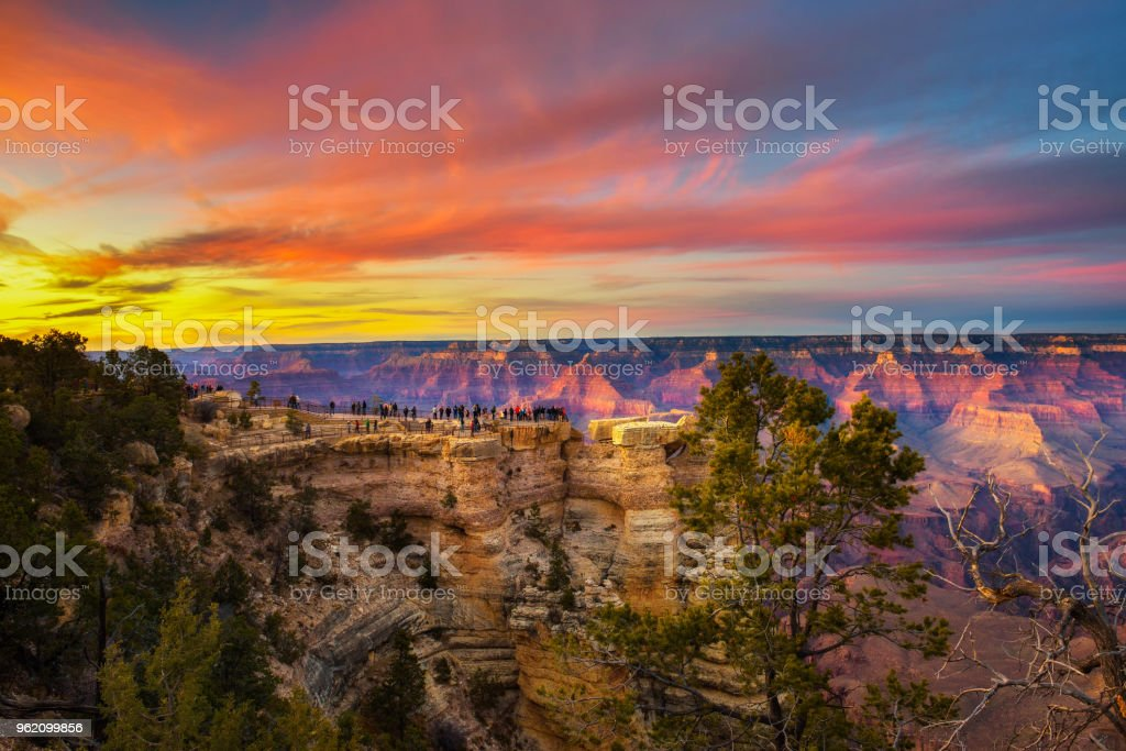 Sunset above south rim of Grand Canyon from the Mather Point - Royalty-free American Culture Stock Photo
