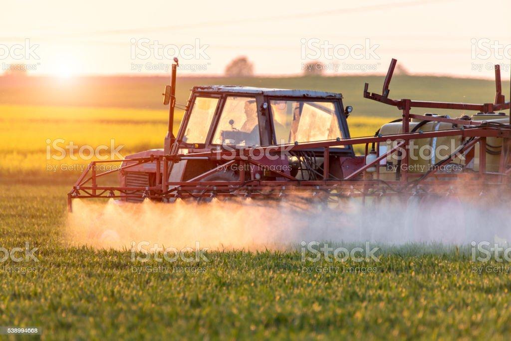 Sunset above spraying machine stock photo