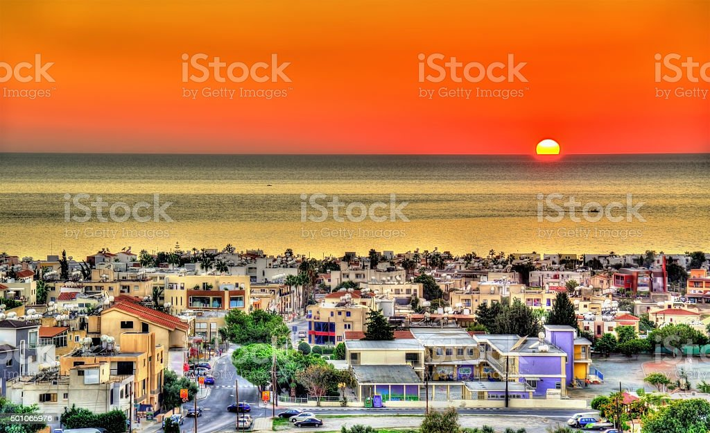 Sunset above the city of Paphos - Cyprus stock photo