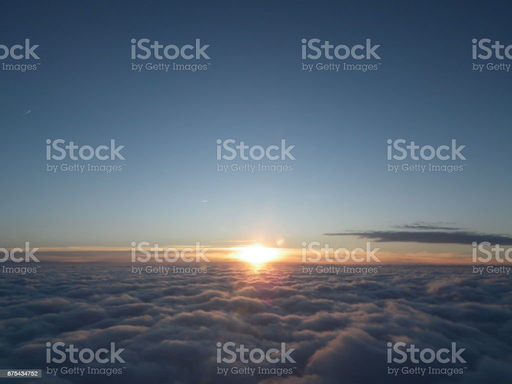 Sunset Above The Clouds Sunset at 34,000 feet above Dallas, Texas Aerial View Stock Photo
