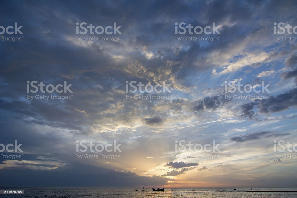 sunset above the dutch sea stock photo