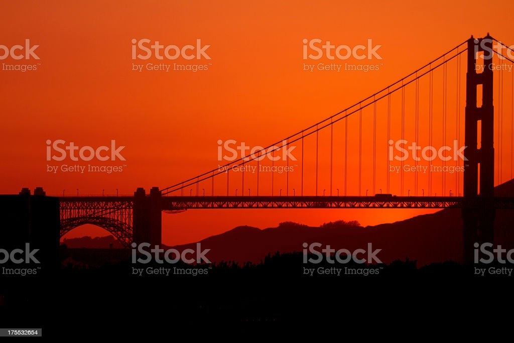 Sunset Across San Francisco Bridge royalty-free stock photo