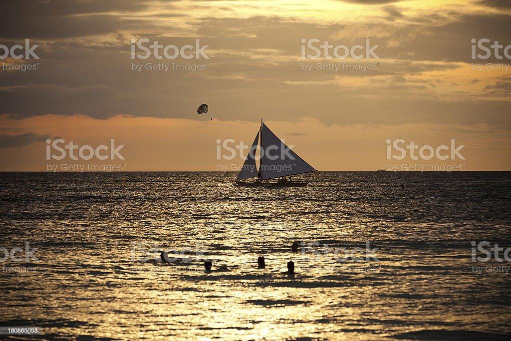 sunset activities boracay royalty-free stock photo