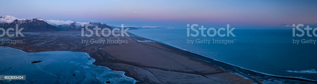 Sunset aerial panorama at Vatnajokull glacial lagoon stock photo