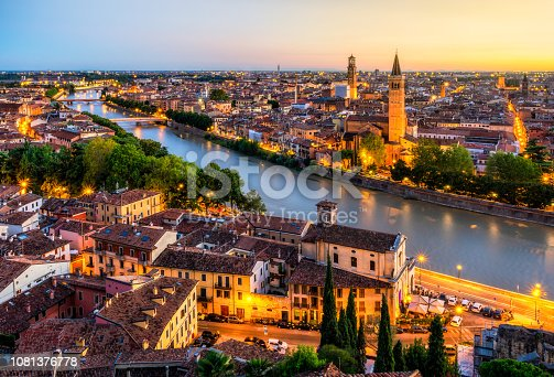 Aerial View of Verona city at Sunset with Adige river. Veneto. Italy