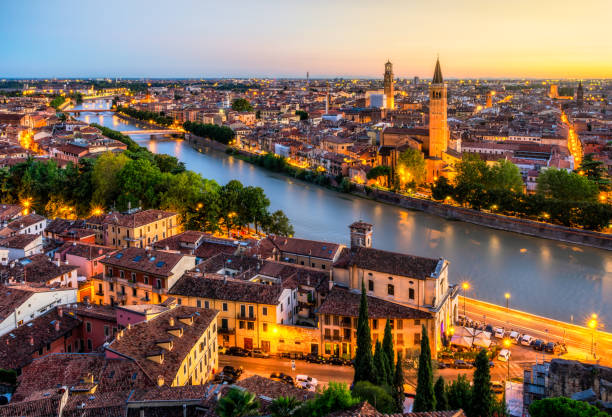 Sunset aerial view of Verona. Italy Aerial View of Verona city at Sunset with Adige river. Veneto. Italy italy stock pictures, royalty-free photos & images