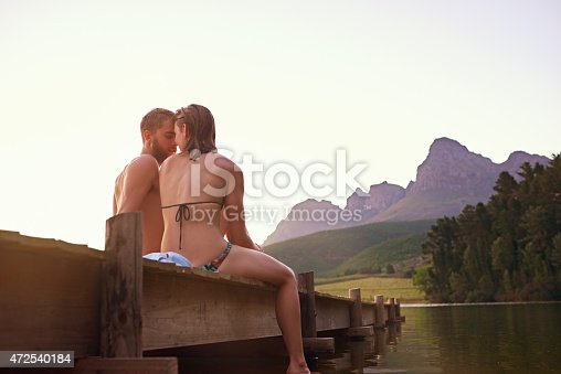 Rearview shot of an affectionate young couple in swimsuits sitting on a dock at sunsethttp://195.154.178.81/DATA/i_collage/pu/shoots/804524.jpg