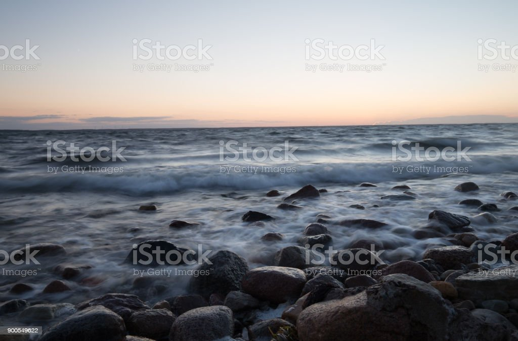 Sunset after a summers day over the baltic sea stock photo