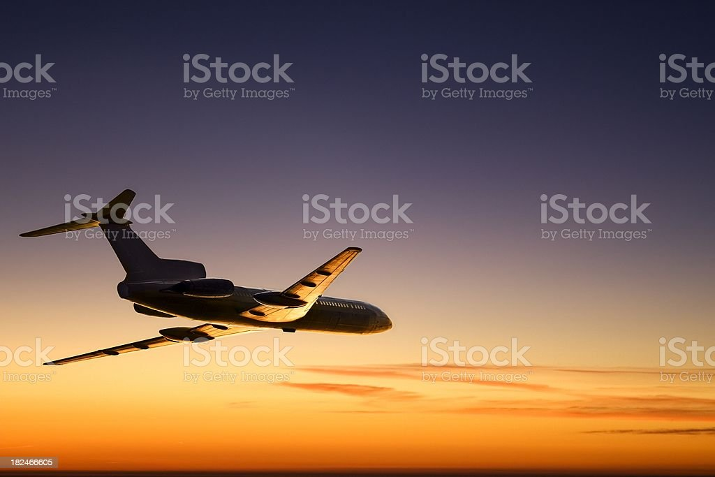 Sunset aircraft royalty-free stock photo