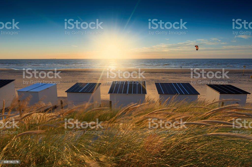 sunset along the Dutch coast stock photo