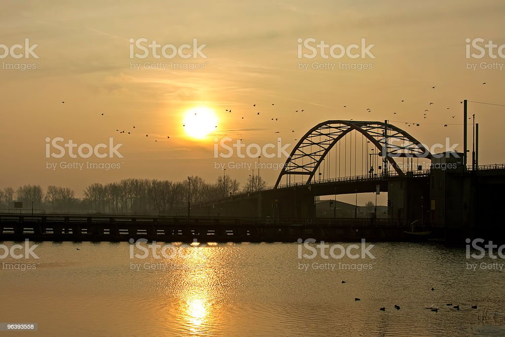 Sunset along The IJ in Amsterdam Netherlands - Royalty-free Amsterdam Stock Photo