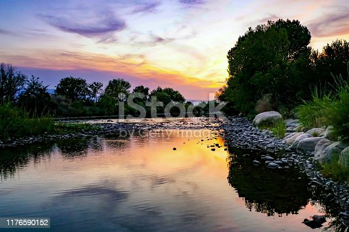 Sunset along the Truckee River in Reno, Nevada
