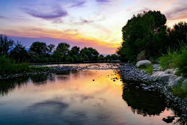 Sunset along the Truckee River in Reno, Nevada Sunset along the Truckee River in Reno, Nevada nevada stock pictures, royalty-free photos & images