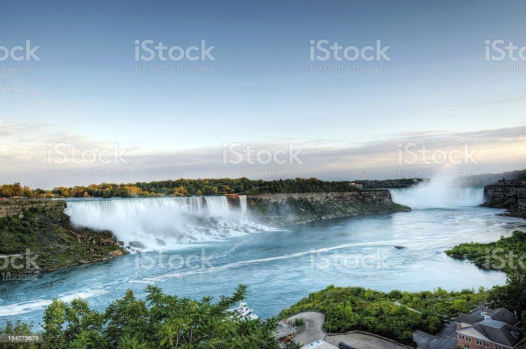 Sunset, American and Canadian Falls at Niagara stock photo